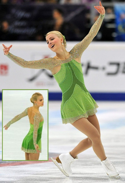 Kiira Korpi in another stunning dress, skating to The Girl with the Flaxen Hair at the 2012 Cup of China and 2012 Cup of Russia